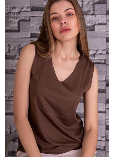Stamina  Bayan V Yaka Kolsuz Bluz-5VS07 Kahve